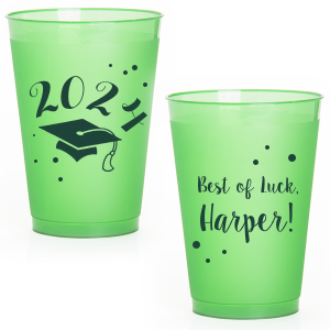 Our personalized Matte Leaf Ink 16 oz Frost Flex Cup with Matte Leaf Ink Print Color has a Cap graphic and is good for use in Graduation themed parties and will give your party the personalized touch every host desires.