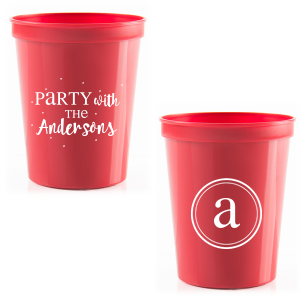 For Your Party's chic Red 16 oz Stadium Cup with Matte White Ink Cup has a monogram graphic and is good for use in family birthday parties, family reunions and more. They party cups are a must-have for your next event—whatever the celebration!