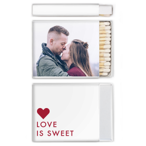 Click Customize More to Upload your Photo and make edits. Our custom Riviera Photo Matchbox with Matte Lipstick Red Ink has a Love Is Sweet graphic and is good for use in Winter themed parties and can't be beat. Showcase your style in every detail of your party's theme!