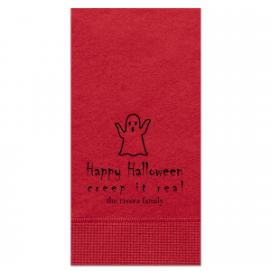 Custom Convertible Red Cocktail Napkin with Matte Black Foil has a Ghost graphic and is good for use in Halloween themed parties and can't be beat. Showcase your style in every detail of your party's theme!