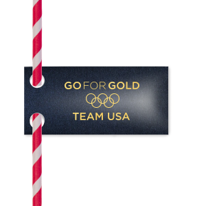 ForYourParty's personalized Stardream Navy Double Point Straw Tag with Shiny 18 Kt Gold Foil will look fabulous with your unique touch. Your guests will agree!
