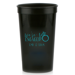 Our beautiful custom Teal 16 oz Stadium Cup with Matte Black Ink Screen Print has a Diamond Ring graphic and is good for use in Fashion, Wedding, Bridal Shower themed parties and can be customized to complement every last detail of your party.