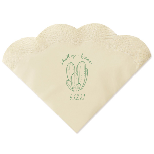 The ever-popular Champagne Shimmer Cocktail Napkin with Satin Leaf Imprint Foil Color has a Cactus 4 graphic and is good for use in Floral, Southwestern themed parties and will give your party the personalized touch every host desires.