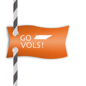 Our beautiful custom Poptone Tangerine Pennant Straw Tag with Matte White Foil has a Tennessee graphic and is good for use in States themed parties and couldn't be more perfect. It's time to show off your impeccable taste.