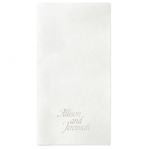 The ever-popular White Linen Like Petite Napkin with Shiny Sterling Silver Foil can be personalized to match your party's exact theme and tempo.