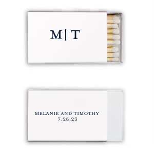 ForYourParty's elegant personalized classic matchbox will add that perfect detail to your wedding day or special event. Add a spark of customization to your party with custom classic simple intials matchboxes.