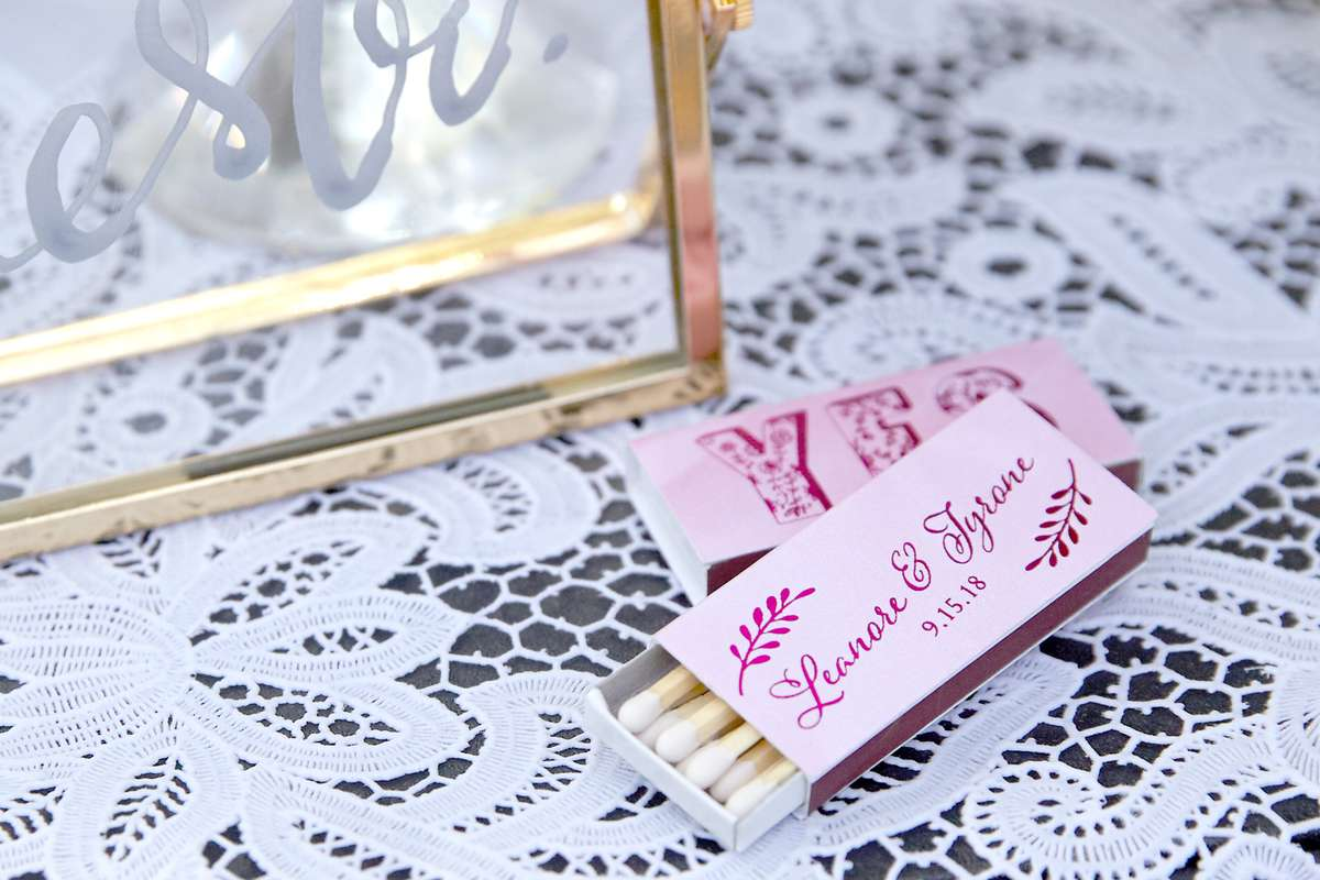 wedding favor candle matches