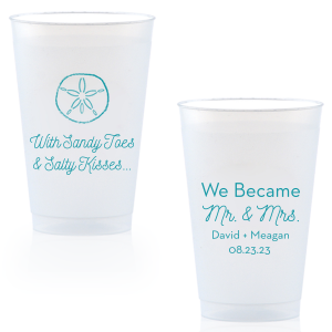 Bring your wedding party to the beach! With our Sand Dollar graphic, cute saying and script font, these blue napkins will. Customize with your names for festive wedding barware that can double as personalized party favors.