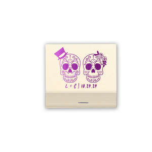 Our custom Natural Sage 30 Strike Matchbook with Shiny Amethyst Foil has a Sugar Skulls graphic and is good for use in Halloween themed parties and will make your guests swoon. Personalize your party's theme today.