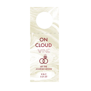 Our custom Marble Sand Wine Hang Tag with Shiny Merlot Foil has a Wedding Rings 2 graphic and is good for use in Wedding and Engagement themed parties and will give your party the personalized touch every host desires.