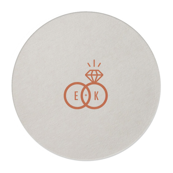 wedding rings coaster in trendy copper foil