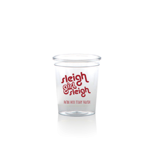 Our beautiful custom  Plastic Shot Glass with Matte Red Berry Ink Cup Ink Colors has a Sleigh Girl Sleigh graphic and is good for use in Christmas and Holiday themed parties and can be personalized to match your party's exact theme and tempo.