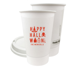 Custom 8 oz Paper Coffee Cup with Lid with Matte Poppy Ink Cup has a Witch's Hat graphic and is good for use in Halloween themed parties and can be personalized to match your party's exact theme and tempo.