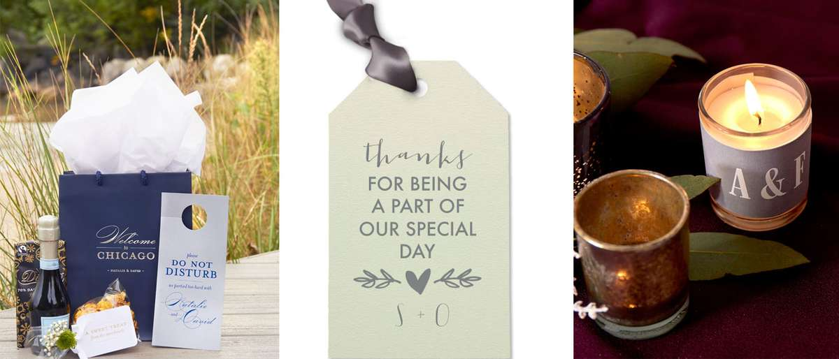 personalized wedding welcome bags, wedding gift tags, wedding votive candles