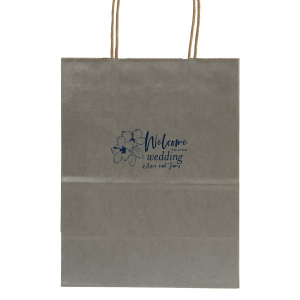 ForYourParty's chic Metallic Silver Gift Bag with Matte Navy Foil has a Hibiscus graphic and is good for use in Floral themed parties and will impress guests like no other. Make this party unforgettable.