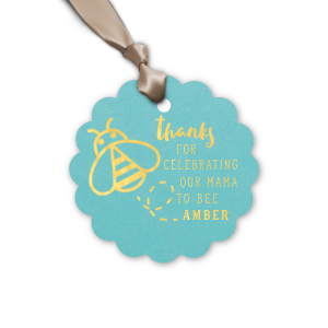 Personalized Poptone Tiffany Blue Diamond Gift Tag with Shiny 18 Kt Gold Foil has a Bumble Bee graphic and is good for use in Animals, Baby Animals, Baby Shower themed parties and will give your party the personalized touch every host desires.