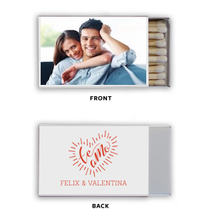 Our personalized White Classic Photo/Full Color Matchbox with Matte Poppy Ink Digital Print Colors has a Te Amo graphic and is good for use  in  Wedding and Fiesta themed parties and will make your guests swoon. Personalize your party's theme today.