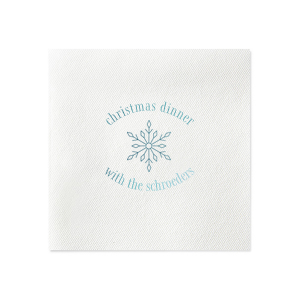 ForYourParty's personalized Fog Heather Dinner Napkin with Shiny Turquoise Foil has a Snowflake graphic and is good for use in Winter, Christmas, Holiday themed parties and couldn't be more perfect. It's time to show off your impeccable taste.