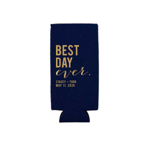 ForYourParty's chic Navy Round Can Cooler with Gold Ink Cup Ink Colors will look fabulous with your unique touch. Your guests will agree!