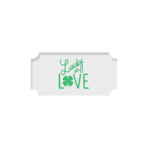 Personalized Classic Crest White Round Label with Matte Spring Green Ink Digital Print Colors has a Lucky In Love graphic and is good for use in St Patty's Day, Wedding themed parties and will add that special attention to detail that cannot be overlooked.