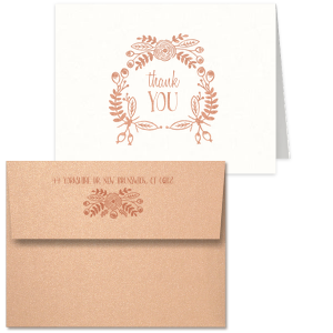 ForYourParty's Strathmore White Classic Note Card with Envelope with Shiny Rose Gold Foil has a Rustic Floral Frame graphic and is good for use in Wedding, Shower, Anniversary themed parties and are a must-have for your next event—whatever the celebration!