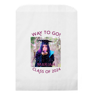 Personalized White Photo/Full Color Party Bag with Matte Plum Ink Digital Print Colors are a must-have for your next event—whatever the celebration!