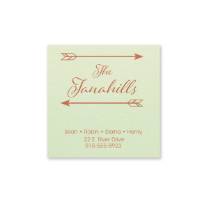 Personalized Poptone Mint Square Business/Calling Card with Satin Copper Penny Foil has a Arrow Frame graphic and is good for use Personally or for the Family and will add that special attention to detail that cannot be overlooked.