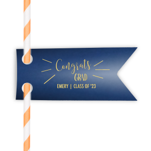 Our custom Natural Royal/Lt. Navy Wave Straw Tag with Shiny 18 Kt Gold Foil will make your guests swoon. Personalize your party's theme today.