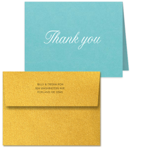Our custom Poptone Tiffany Blue Classic Note Card with Matte White Foil can be customized to complement every last detail of your party.