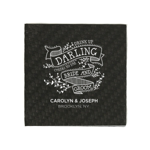 Have the best party details ever with this personalized wedding napkin. The bold design and adorable floral elements will be sure to impress your guests. Stay true to this classic color combination of ivory and black or choose from our many color options to match your party palette! Add your names and wedding location for a bar addition you and your guests will love!