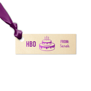 ForYourParty's elegant Stardream Ivory Rectangle Gift Tag with Shiny Amethyst Foil has a Birthday Cake 3 graphic and is good for use in Food, Kid Birthday, Birthday themed parties and will add that special attention to detail that cannot be overlooked.