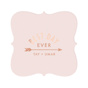 ForYourParty's personalized Blush with Kraft back Nouveau Coaster with Shiny Rose Gold Foil has a Arrow 1 graphic and is good for use in Accents, Frames, Wedding themed parties and can be personalized to match your party's exact theme and tempo.