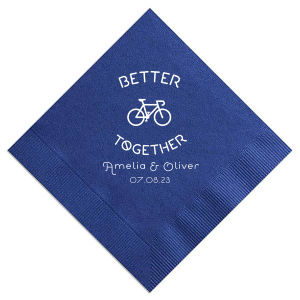 ForYourParty's elegant Watercolor Blue Sky Cocktail Napkin with Matte White Foil has a Better Together Bike graphic and is good for use in Wedding, Travel, Sports themed parties and can be customized to complement every last detail of your party.