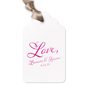 Our custom Poptone Peach Arch Gift Tag with Shiny Fuchsia Foil can be personalized to match your party's exact theme and tempo.