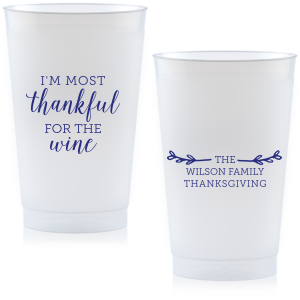Our custom 9 oz Frost Flex Cup with Matte Cobalt Ink has a Leaf Single Initial graphic and is good for use in Thanksgiving and Family themed parties and will add that special attention to detail that cannot be overlooked.