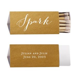 ForYourParty's personalized Stardream Old Gold Classic Matchbox with Matte White Foil will look fabulous with your unique touch. Your guests will agree!