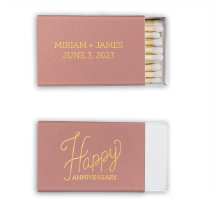 ForYourParty's personalized Stardream Sky Blue Classic Matchbox with Satin 18 Kt. Gold Foil Color has a Happy Anniversary 2 graphic and is good for use in Words themed parties and can be customized to complement every last detail of your party.
