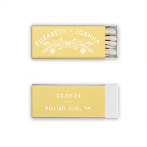 Our beautiful custom Poptone Mimosa Candle Matchbox with Matte White Foil has a Rose Laurel graphic and is good for use in Wedding and  Floral themed parties and will add that special attention to detail that cannot be overlooked.