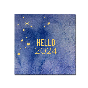ForYourParty's personalized Dove Gray Cocktail Napkin with Shiny 18 Kt Gold Foil has a Starry Night graphic and is good for use in Holiday and New Years themed parties and are a must-have for your next event—whatever the celebration!