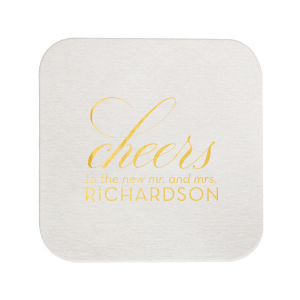 Our custom Blush with Kraft back Deco Coaster with Shiny 18 Kt Gold Foil will give your party the personalized touch every host desires.