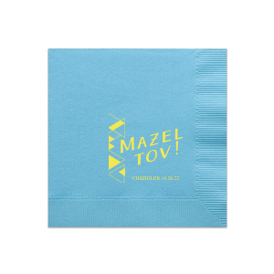 Personalized Teal Cocktail Napkin with Matte Mimosa Yellow Foil has a Triangles graphic and is good for use in Birthdays, Modern Weddings and Bar and Bat Mitzvah parties and will look fabulous with your unique touch. Your guests will agree!