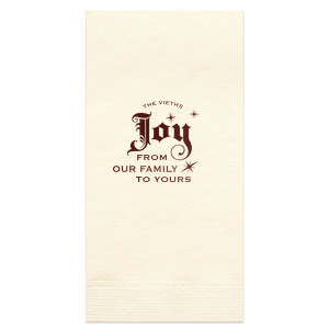 Our personalized Ivory Cocktail Napkin with Shiny Merlot Foil has a Joy graphic and is good for use in Holiday themed parties and will give your party the personalized touch every host desires.