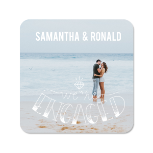 Our custom Photo/Full Color Coaster with Matte White Ink Digital Print Colors has an Engaged graphic and is good for use in Destination, and Engagement parties and will give your party the personalized touch every host desires.