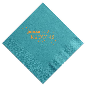Show off your best hostess skills with custom napkins. Honor the future couple with this cute polka dot design, terrific for engagement parties, bridal showers and couple showers.