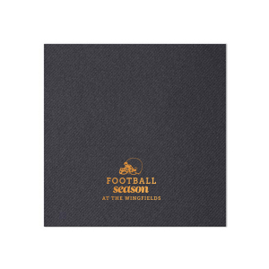 Our custom Hunter Green Linen Like Cocktail Napkin with Shiny Copper Foil has a Helmet graphic and is good for use in Sports themed parties and will make your guests swoon. Personalize your party's theme today.