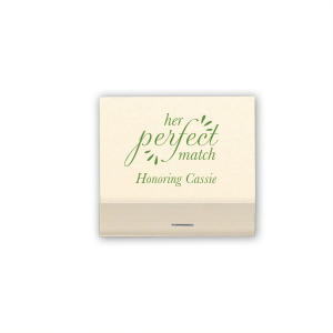 Custom Natural Vanilla 30 Strike Matchbook with Matte Moss Green Foil will look fabulous with your unique touch. Your guests will agree!
