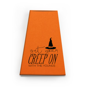 ForYourParty's chic Poptone Tangerine Rectangle Box with Matte Black Foil has a Witch's Hat graphic and is good for use in Halloween themed parties and will impress guests like no other. Make this party unforgettable.