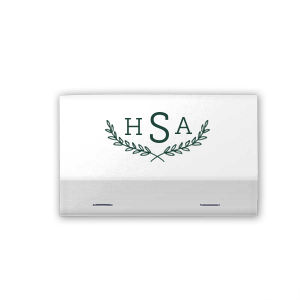 Our custom Natural Sage 30 Strike Matchbook with Matte White Foil has a Branch Frame 2 graphic and is good for use in Floral, Frames, Wedding themed parties and can be customized to complement every last detail of your party.