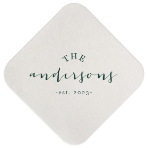 Our beautiful custom Eggshell Square Coaster with Matte Spruce Foil will give your party the personalized touch every host desires.