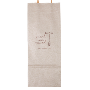 Our personalized Metallic Silver Wine Gift Bag with Shiny Merlot Foil Color has a Corkscrew graphic and is good for use in Drink themed parties or for Thanking that wine lover in your life. These are a must-have for your next event—whatever the celebration!